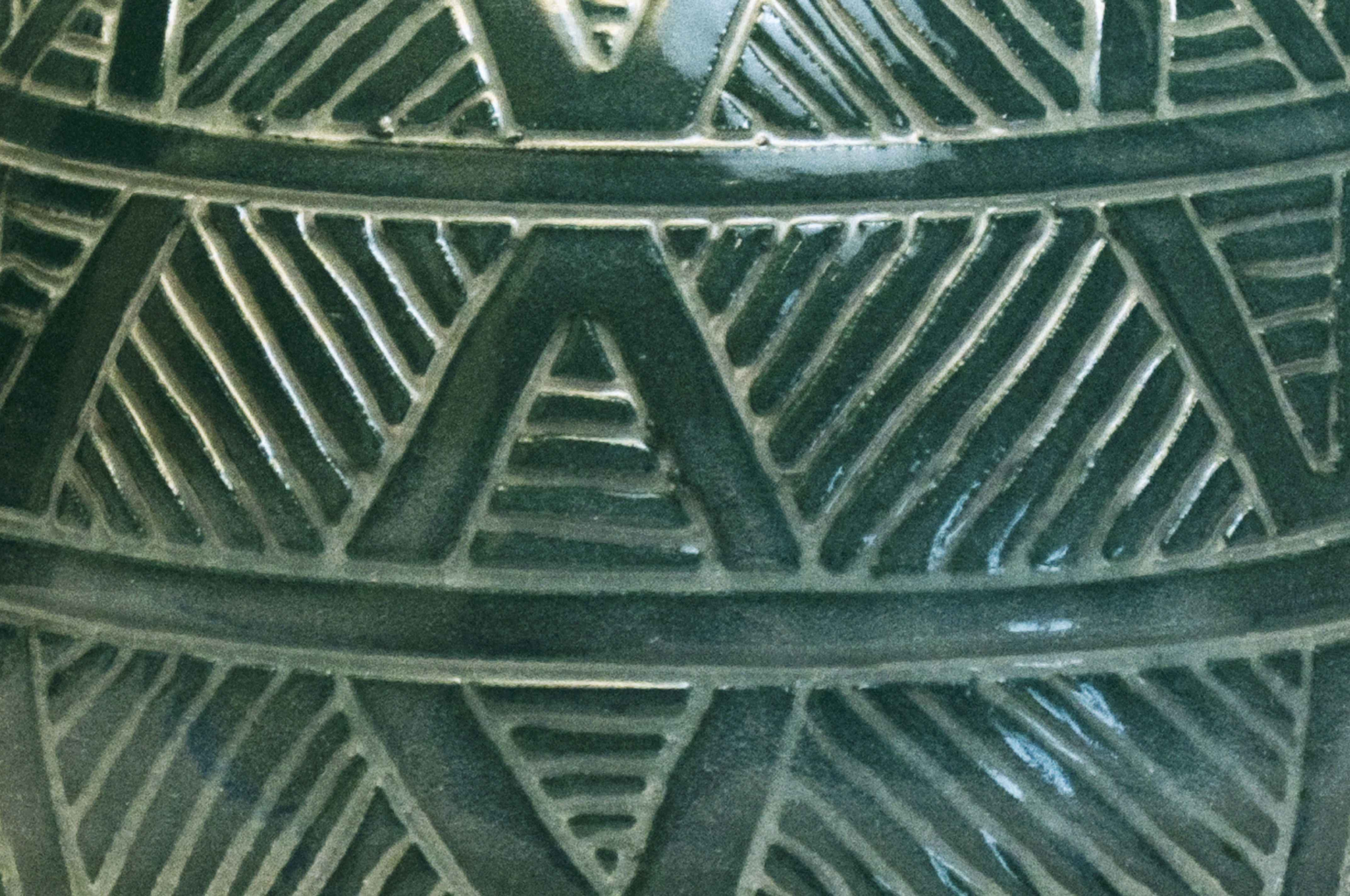 Turquoise Geometric Teapot Closeup