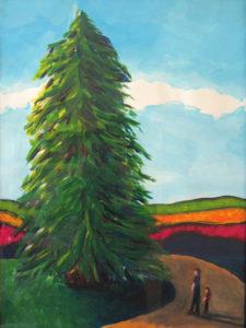 Big Tree, Little Us Painting - Teri Hannigan