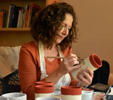 Teri Hannigan glazing leaf cup